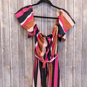 Vici Dresses - Vici Collection Striped Belted Ruffle Maxi Dress M